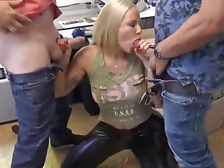 Busty Blonde MILF in Latex with Boss and Husband after Work