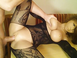 REAL DOLL - pussy + ass fucked and tits creamed with cum