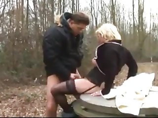 Shameless Mature MILF with Her Ex Husband In Woods
