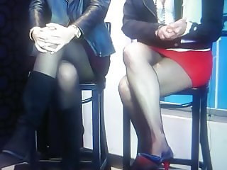 Patricia Togores upskirt pantyhose and panty.