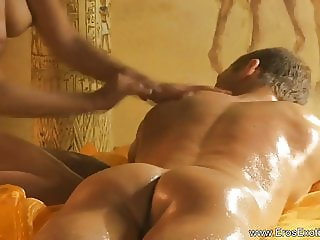 Relaxing His Big Hard Cock With Massage