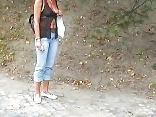 Chrissi, German Slut, Flashing her Tits in Budapest!