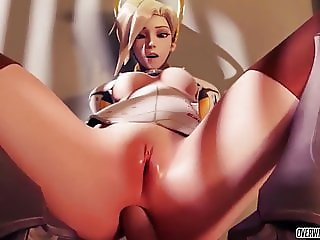 Sexy ass Overwatch heroes Mercy and Tracer having sex