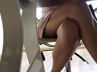 Turkish Bank Lady Under Table Legs