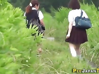 Pissing japanese teens in uniform