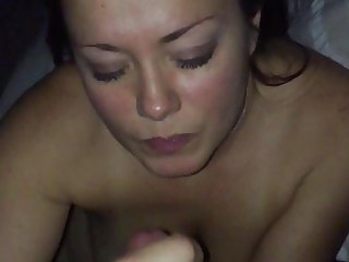 Amy jerking out a swallow