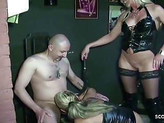 Two German MILF Femdom Slave and Blackmail to eat own Sperm