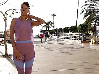 See-through outfit in public. Sheer leggings. Camel-toe