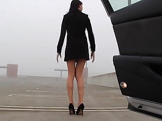 Hot woman naked on street, in car and in store