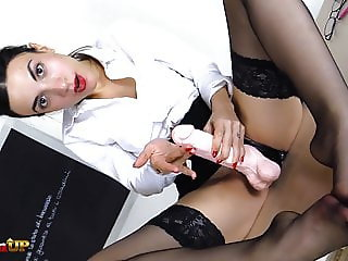 Teacher in stockings uses her strapon to punish you