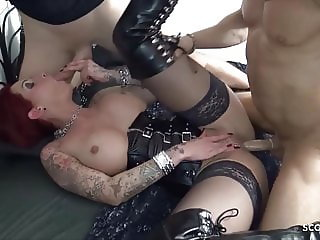 Redhead Lingerie Wife Love MMF Threesome with Younger German