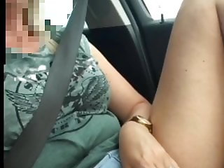 Playing and Cum in the car on the M1