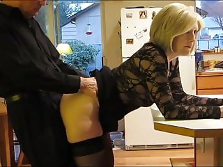 mature milf in stockings takes anal creampie by her new boss