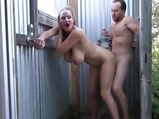 busty amateur milf having fun with neighbor on business trip