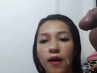 Anjelica Cums On face
