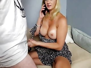 busty wife made her neighbor cum while phone talking to ex