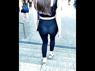 Girl showing her thong - transparent leggings