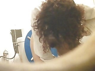 Toilet Hidden Cam - Curly girl with hairy pussy