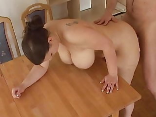 busty german wife gets fucked on table