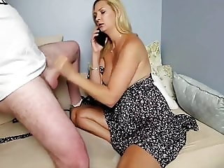 busty wife jerking off her neighbor cock while phone talking