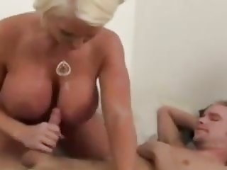 Mom giving handjob to son in the morning