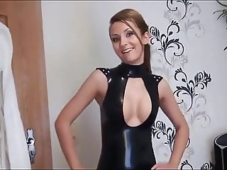 Cute girl fuck is blinded partner in black latex skirt