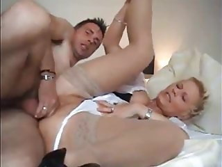 lucky boy fucks his girlfriend and then busty mature milf