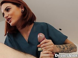 Petite redhead provides customer with hot sex massage