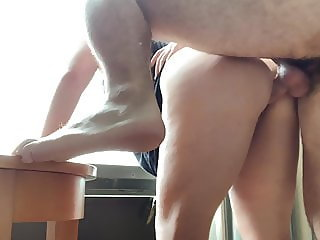 ramming a juicy asian from behind in hotel window