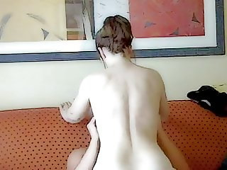 Mom fucking dad on the sofa in the hotel room