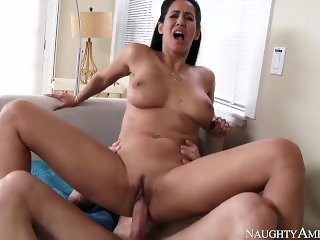Naughty America Neighbor Isis Love fucking in the couch with her brown eyes