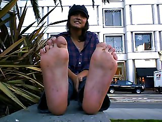 Nice girl with dirty and stinky feet
