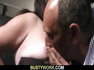 BBW bouncer in fishnets is riding cock