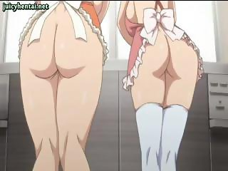 Really busty hentai girls play with their tits and milk them
