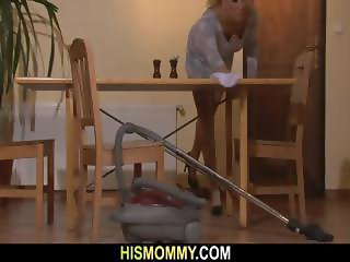 Horny mom seduces son's GF