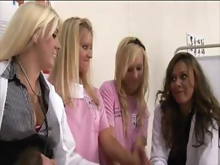 Horny patient gets looked after by busty blonde nurses