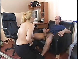 Blonde hottie crams hard cock up her crack