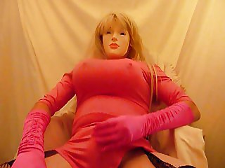crossdresser plasticface in pink
