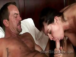 Gorgeous brunette housewife fucks husbands best friend