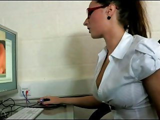 Sexy Office Worker Caught Fingering Her Pussy  At Work!!!