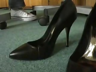 cumming in co-workers high heels