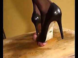 Black high heel pumps milks his cock
