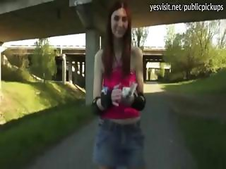Skinny redhead girl with big ass payed for hardcore sex in public