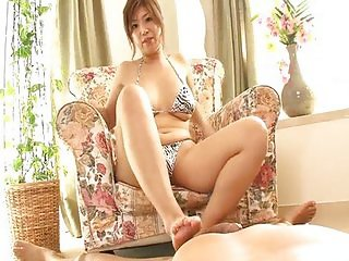 Slutty Naho uses her pretty tits for a cum-shot