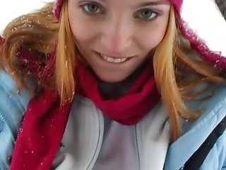 Sexy teen masturbating outdoors in the winter