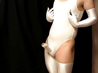 Japanese Fetish Shemale Leotard Cocksuit and Handsfree Cum