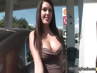 Cute brunette babe with a nice busty part6