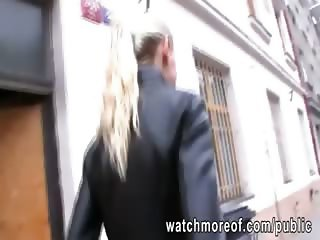 Busty euro honey agrees to fuck for cash