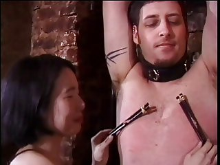 Asian dominatrix sluts torture a guy with a small penis