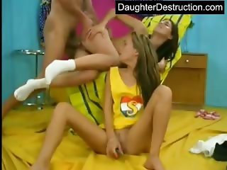 Two cute teen daughters abused hard